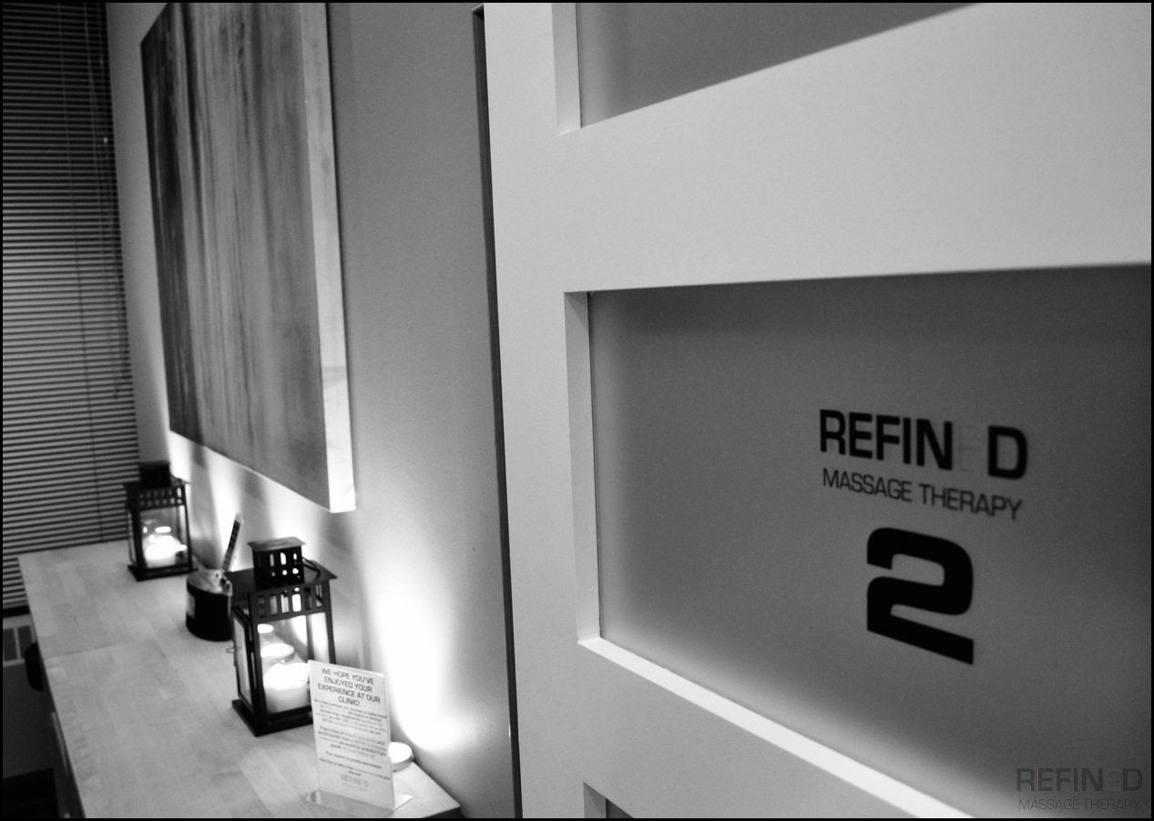 Refined Massage Therapy- Room 2 Entrance Black and White